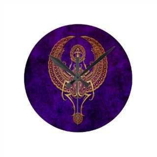 Winged Egyptian Scarab Beetle with Ankh   purple Wall Clocks