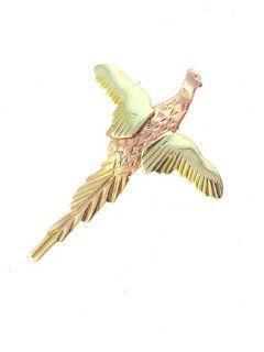 10K Yellow gold Black Hills Gold Pheasant Tie tac: Jewelry