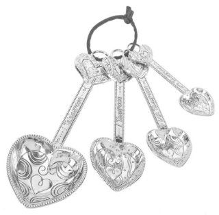 Decorated Heart Measuring Spoons   Valentine Holiday Heart Theme   Ganz 4 Piece Measuring Spoons Kitchen & Dining