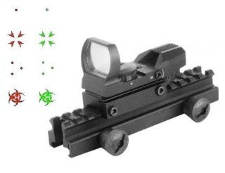 "Global Sportsman QD Tactical 1"" Weaver Picatinny High See Thru Stanag Riser Mount For AR15 M4 Flattop Rifle Scope + CQB 4 Multi Reticle Dual Red / Green Special Battle Edition Open Reflex Sight with Weaver Picatinny Rail Mount   Combo Combination Pack"