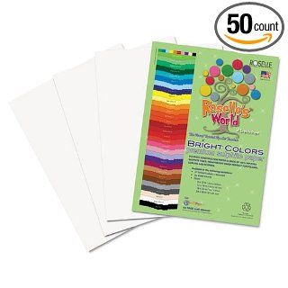 Roselle Premium Sulphite Construction Paper, 76 lbs., 9 x 12, Bright White, 50/Pack: Industrial & Scientific