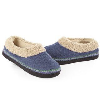 ISOTONER Women's Heathered Fleece Sherpa Trim Skimmer Slippers (6.5 7, Dark Blue): Shoes