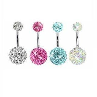 4 Pieces Belly Ring Crystal Ball Pink, Aquamarine and Opal Crystal with 1 Belly Retainer 14G Body Piercing Rings Jewelry
