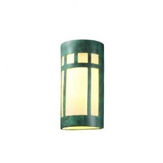 """Justice Design Group CER 7357 STOC Carrara Marble Ceramic Two Light 21"""" Interior Extra Large Prairie Window Wall Sconce Rated for Damp Locations from the Ceramic Collection"""