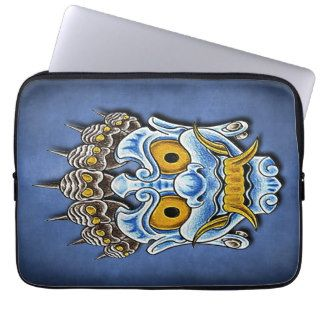Maori Tribe Evil Skull Mask Tattoo Design Laptop Sleeve