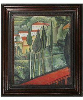 """Hand Painted Framed Canvas Art Modigliani Paintings Landscape, Southern France with Mediterranean Bronze Frame   Bronze Finish   30"""" X 34""""   Art Reproduction Oil Painting   Prints"""