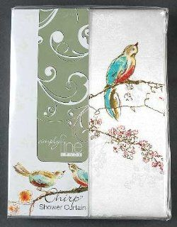 "Lenox China Chirp Cloth Shower Curtain 70"" X 72"", Fine China Dinnerware   Birds Shower Curtain"