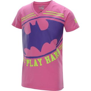UNDER ARMOUR Girls Alter Ego Batgirl Verbiage V Neck Short Sleeve T Shirt