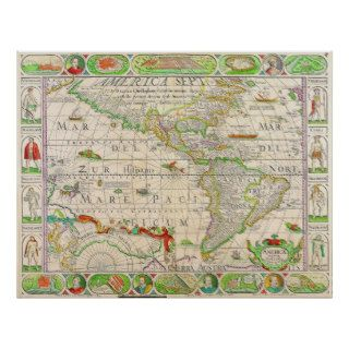Mapa antiguo impresiones de