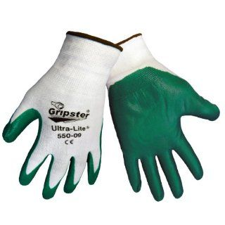 Global Glove 550 Gripster Ultralite Nitrile Glove with Knit Wrist Liner, Work, Extra large, Dark Green/White (Case of 72) Industrial & Scientific