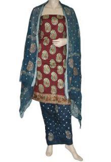 Designer Gold Print Boho Salwar Suit Traditional Handmade Salwar Kameez: Clothing
