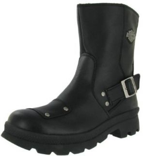 HARLEY DAVIDSON Cannon Pull On Mens Leather Boots Shoes Motorcycle Riding Black Shoes