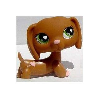 Brown Dachshund # 556 (pink nose and heart eyes)   Littlest Pet Shop Replacement Figure Loose Retired LPS Collectible Toy (Out Of Package/OOP): Everything Else