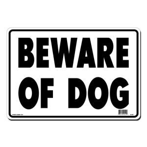 Lynch Sign 14 in. x 10 in. Black on White Plastic Beware of Dog Sign R  67
