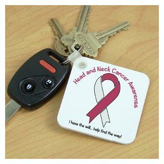Head And Neck Cancer Awareness Ribbon Key Chain: Key Tags And Chains: Clothing
