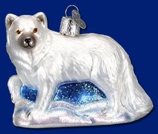 Old World Christmas White Arctic Fox Glass Ornament #12188   Decorative Hanging Ornaments