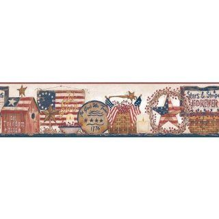 York Wallcoverings YC3326BD Welcome Home Patriotic Shelf Border   Wallpaper