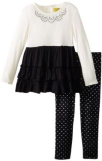 Nicole Miller Girls 2 6X Toddler Embellished Tunic with Foil Dot Print Legging 2 Piece Set, Black, 2T: Clothing
