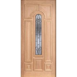 Main Door Mahogany Type Unfinished Beveled Zinc Arch Glass Solid Wood Entry Door Slab SH 555 UNF BZ