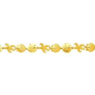 "14K Gold Seashell Fancy Link Bracelet 7.25"": Jewelry"