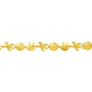"""14K Gold Seashell Fancy Link Bracelet 7.25"""": Jewelry"""