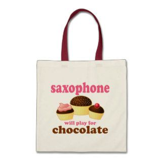 Funny Saxophone Chocolate Quote Tote Bag
