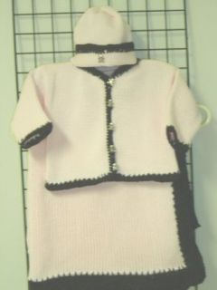 Ck601pb.bk, . Knitted on Hand Knitting Machine Then Finished By Hand Crochet Infant Girls Outfit, Containing Baby Pink Cotton Crocheted Dark Brown Chenille Trim Cardigan Sweater, Hat Set and Matching Blanket. Infant And Toddler Sweaters Clothing