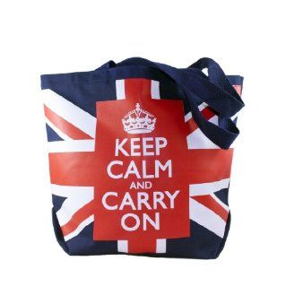 Keep Calm and Carry On Tote Bags Canvas Tote Bags Union Jack Flag Motivational Clothing