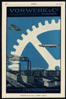 Antique Print ADVERTISING SCHEU MACHINE TOOLS VORWERK GEAR WHEEL GERMANY 1917   Lithographic Prints