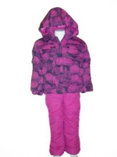 Girls Toddler 2 piece Snowsuit Ski Jacket Coat and Ski Bibs Set, Pom Pom Print Party Pink or Spring Bud 2T 3T 4T (3T, Party Pink) Clothing