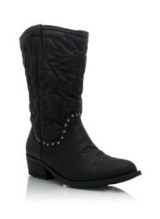 Studded Embroidered Cowgirl Boots: Shoes