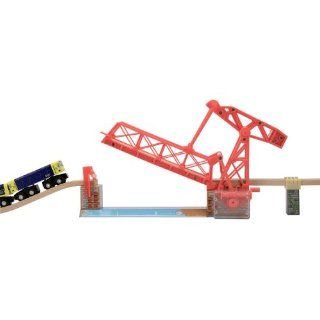 2 Item Bundle: Melissa & Doug 628 Over the River Drawbridge Train Track + Free Gift   Fits Thomas Train Tracks: Toys & Games