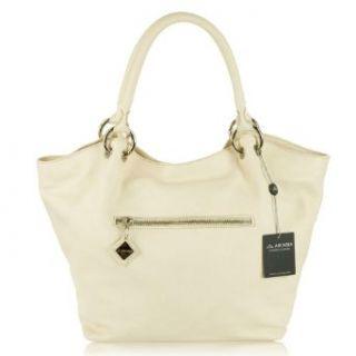 ARCADIA Italian Made Cream Leather Designer Tote Handbag Clothing