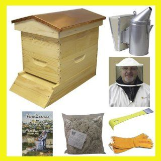 Bee Hive   Garden Hive Bee Hive Starter Kit (Fully Assembled   Wood) with Beekeeping Supplies   Perfect Copper Top Beehives for Beginners and Pro Beekeepers   Beekeeper Kits for Honey Bees, Easy to lift Wood Beehives, Quality Equipment   Beehive Boxes, Fra