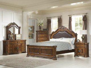 Golden Eagle 5 PC California King Bedroom Set with 2 Nightstand by Homelegance in Caramel   Bedroom Furniture Sets