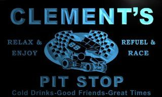 pu663 b Clement's Pit Stop Car Racing Bar Beer Neon Light Sign   Business And Store Signs