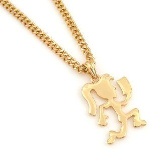 "Hip Hop Hot Celebrity Hematite Gold Tone ICP Hatchet Girl Insane Clown Pendant Necklace Free 24"" chain,: Everything Else"