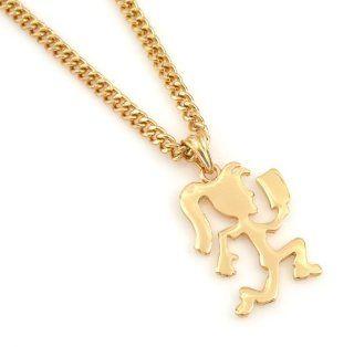 "Hip Hop Hot Celebrity Hematite Gold Tone ICP Hatchet Girl Insane Clown Pendant Necklace Free 24"" chain,: Everything Else"