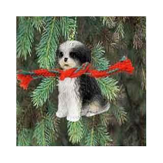 Shih Tzu Puppy Cut Miniature Dog Ornament   Black & White   Collectible Figurines
