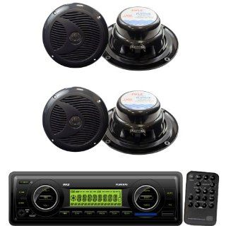 "Pyle Marine Radio Receiver and Speaker Package   PLMR87WB AM/FM MPX IN Dash Marine  Player/Weatherband/USB & SD / MMC Card Function (Black)   2x PLMR60B 2 Pairs of 6 1/2"" Dual Cone Waterproof Stereo Speaker System  Vehicle Receivers  Car Elec"