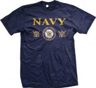 United States Navy Mens T shirt, Bald Eagle With Anchor Naval Shield Shirt Clothing
