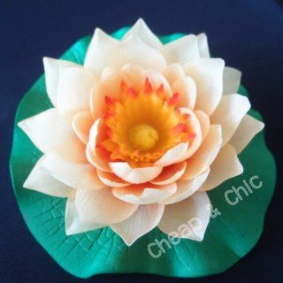 Orange Lotus Flowers Artificial Floating Water Flora : Floating Flowers For Swimming Pool : Everything Else