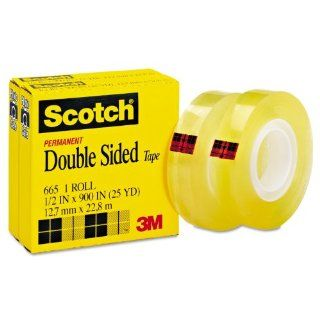 Scotch 665 2PK 665 Double Sided Office Tape, 1/2 Inch x 900 Inches, 1 Inch Core, Clear, 2/Box  Clear Tapes