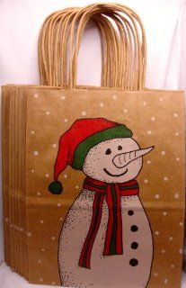 "Snowman Christmas Brown Paper Gift Bags, Merry, 10 1/2"" X 8 1/4"" (12 pack) Health & Personal Care"