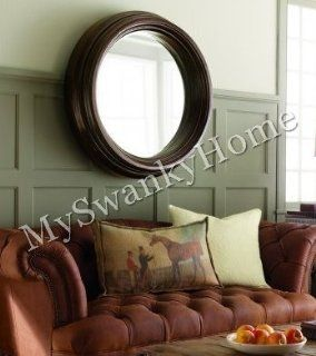 Extra Large Wood Round Wall Mantle Mirror UltraLuxe   Wall Mounted Mirrors