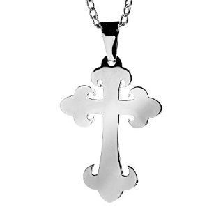 Stainless Steel Budded Stainless Steel Cross Pendant Necklace: West Coast Jewelry: Jewelry