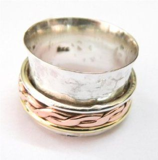 SILVER BRASS COPPER SPINNER RING 925 SILVER JEWELRY HANDMADE RING SIZE 7.5 IAR1399: Jewelry