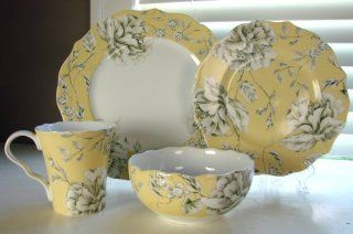 222 Fifth Belissa Yellow 16 Pc Porcelain Dinnerware Set Dinner & Salad Plates, Cereal Bowls & Coffee Mugs Kitchen & Dining