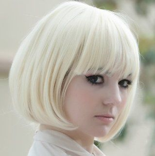 Hunnt� New Popular Cosplay Hallowmas Kanekalon Short Straight BOB Sexy Stylish Synthetic Hair Wig White  Hair Replacement Wigs  Beauty