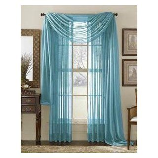 HLC.ME Voile Sheer Curtain Turquoise 216 in. Scarf   Window Treatment Sheers